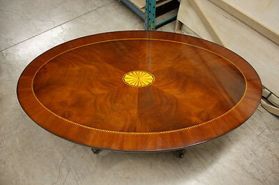 Traditional Oval Pedestal Coffee Table Mahogany with Inlay