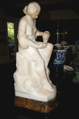 Antique Early 1900's Alabaster Figure Of A Maiden, Pouring A Cup