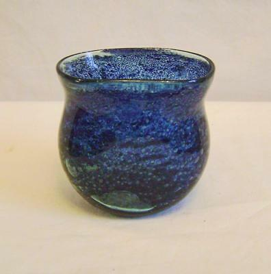 Vintage Studio Glass Vase: Small Thistle Shape Blue Bubbled metal, some amber