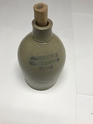 "1/2 Gallon ""Joseph Cleve"" Early Stoneware Jug from No9 Cambridge Boston Mass."