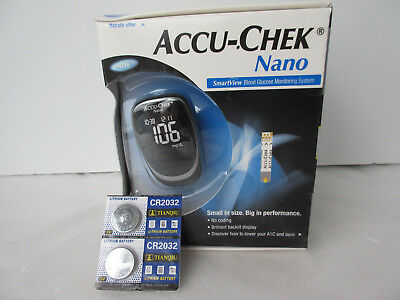 Accu-Chek Nano New Smartview Blood Glucose Monitoring System w/2 New Batteries