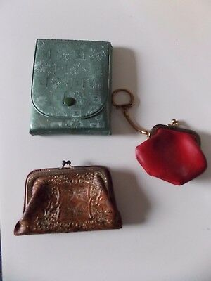 Lot of 3 Vintage Small Snapper Coin Purses & Manicure Set