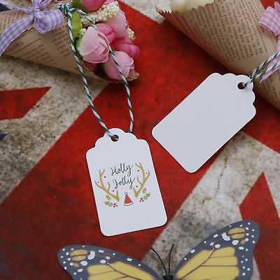 50pcs Kraft Paper Christmas Holly Jolly Tags Party Favor Label With String`