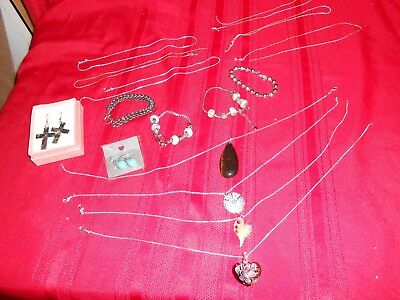 16 piece Lot Of 925 Sterling Silver Jewelry