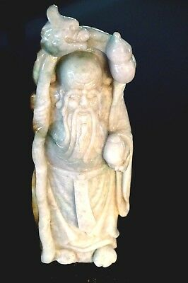 Beautiful Celadon Jade Figure Of Shoulau