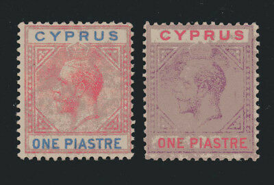 Cyprus 1921-23 Kg V 1 Piastre Both Colours Fine Mounted Mint Sg 89 & 90