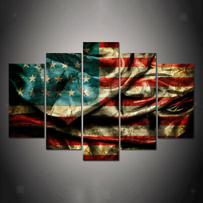 Modern Wall Canvas Prints Painting Art Deco Hanging Picture American Flag-S