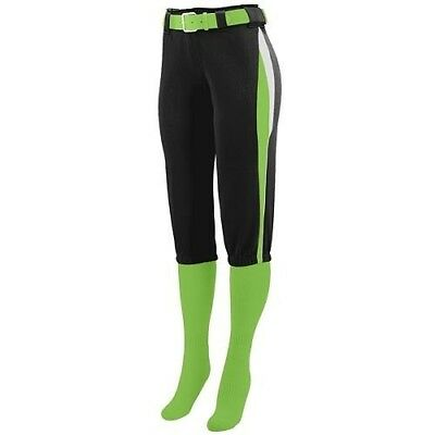(Ladies 2XL, Black with Lime/White Side Pipping) - Girls/Ladies Softball Low
