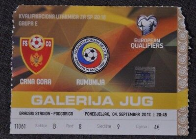 Ticket  MUNTENEGRO - ROMANIA EUROPEAN QUALIFIERS 04.09.2017