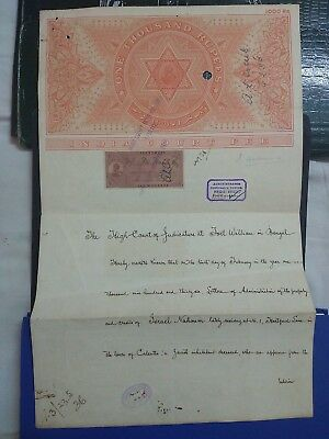 India High Value Rupees 1000 Court Fee Stamp Paper Kg V Used Folded   Ad1.30