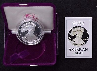 1986 S Silver American Eagle Proof with Box and COA