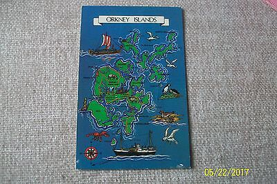 Postcard-- Map Of Orkney Islands
