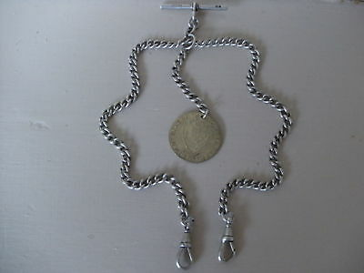 Antique Silver Double Albert Watch Chain & Fob