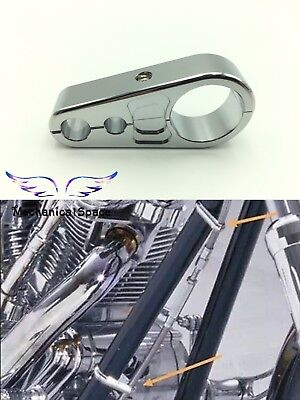 """Chrome Brake Clutch Cable Wire Clamp Clip Holder For 1"""" 25mm Motorcycle Bike Bar"""
