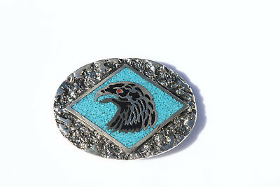 SSI  Handcrafted Belt Buckle Turquoise Coral Onyx - Eagle