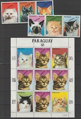 Paraguay Proof Muestra Cats sheet and set, sheet bit folted