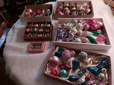 Large Lot Over 100 Vintage Glass Christmas Tree Ornaments