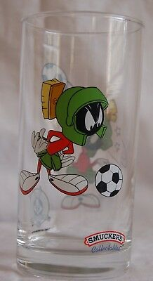 Vintage Smuckers Looney Tunes Soccer  Marvin the Martion tumbler glass