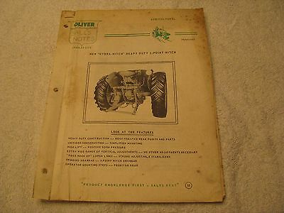 """1957 Oliver """"New"""" Hydra-Hitch Sales Notes for 66,77,88 Tractors"""