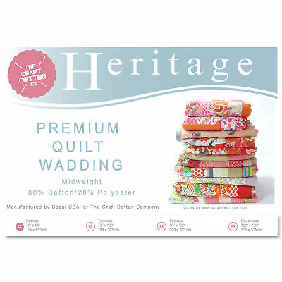 Craft Cotton 3521-01 Heritage Premium Midweight Wadding | Cot Size | 114x152cm