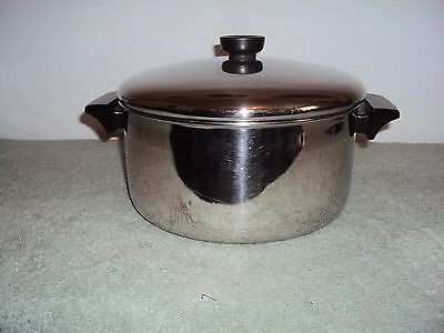 Revere Ware Stainless Steel Tri-Ply Disc 4 1/2 Quart Stock Pot With Lid