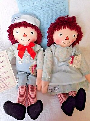 """Numbered LE Exposition style RAGGEDY ANN ANDY Gruelle 19"""" dolls Collectibles '98"""