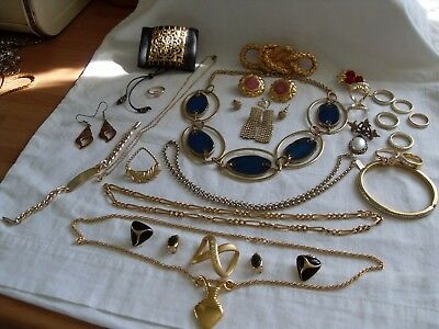 Job Lot Gold Plated/gold Tone Costume Jewellery,necklaces,earrings,rings,bangles