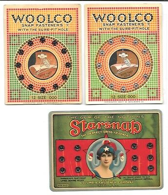 Woolworth & Starsnap Three Cards Clothing Snap Fasteners Colorful Graphics