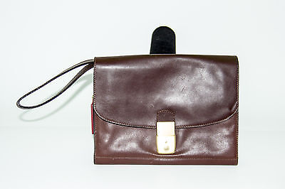 MAXIM'S DE PARIS Vtg Unisex Handbag Chechbook Purse Clutch Brown Leather