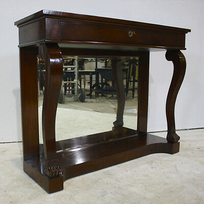 Mahogany wood empire wall console with mirrored back in espresso finish