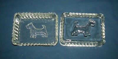 Two Piece Covered Crystal Glass Scottie Dog Dish
