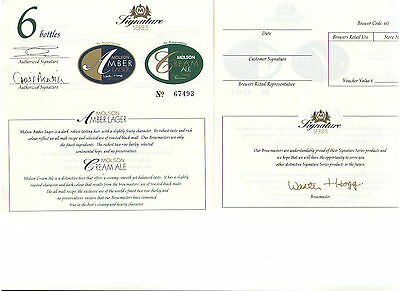 Molson Brewers Beer Molson Amber Lager Cream Ale Lot Of 2 Coupons Letter 1994