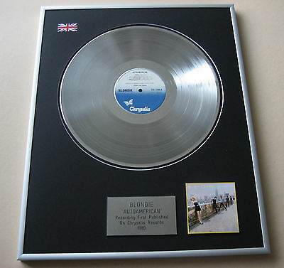 BLONDIE Autoamerican LP Platinum Presentation Disc