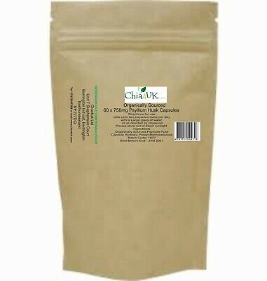 Premium Grade Organic Psyllium Husk Powder (upto 1 yrs ) 365 Veggy caps UK made