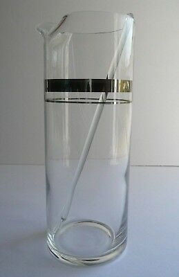 Clear Glass Cocktail Martini Cylinder Pitcher SILVER BAND with GLASS STIR STICK
