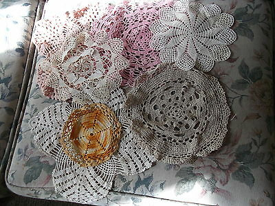 "Lot of 7 Crocheted Doilies - mixed colors & styles - largest is  11"" x 11"""