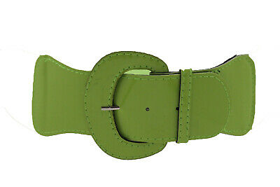 Women Wide Olive Green Faux Leather Elastic Fashion Belt Gold Metal Buckle S M