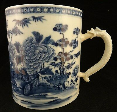 "Lg. 18th c.Chinese Qianlong period Mug. Blue & White, Dragon handle. 4 7/8"" dia."