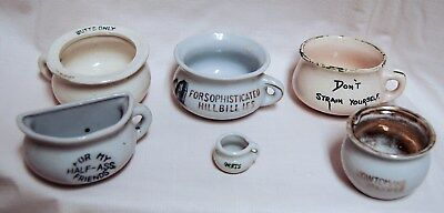 Lot of 6 Vintage Porcelain Minature Chamber Pots Made in Japan