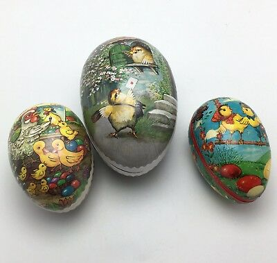 German Paper Mache Easter Eggs Chicks Ducks  Birds Candy Container Lot Of 3