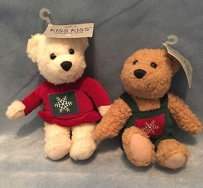 Hallmark Kiss Kiss Mistletoe Bear Lot Of 2. Light Brown Green White Red