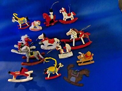 Lot of 13 Vintage Rocking Horse Holiday Christmas Tree Ornaments Various Sizes