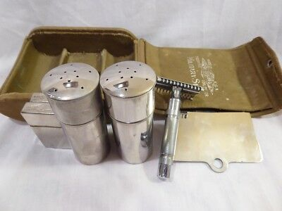 Vintage Gillette Military 6 Piece Set Shaving Kit Khacki Green