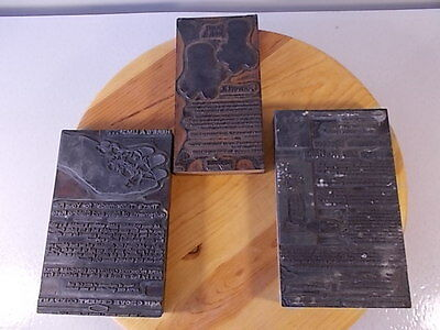 Lot Of 3 Vintage Mid Century Negative Printing Press Stamps Collectibles Antique