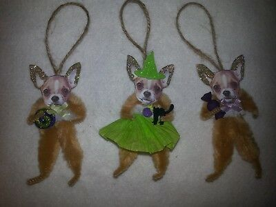 Vtg Style Chenille Halloween Chihuahua Dog Tree Ornaments Feather Tree