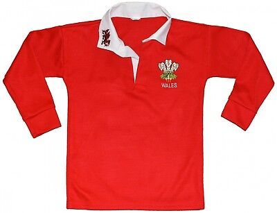 (30, RED/WHITE COLOR) - Wales Welsh Cymru Rugby Shirts full sleeve for boys