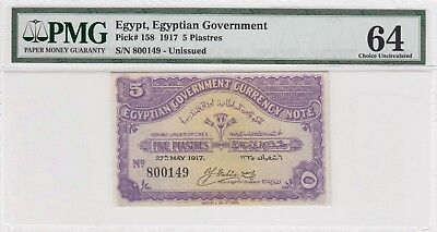 {L.N 160 } Egypt 5 Piasters C.T Unissued  1917,#P-158 .PMG 64