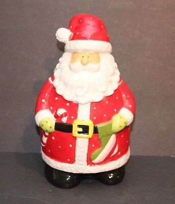 Christmas Creations Ceramic Santa Holding Candy Cane Cookie / Candy Jar Xmas
