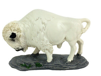 White Bison Buffalo Poly-Resin Statue Figurine Home Decor
