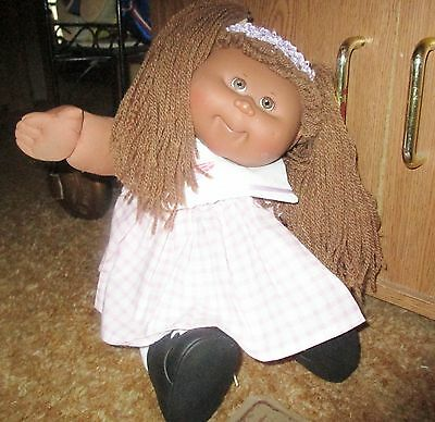 Beautiful Black Cabbage Patch Doll! New Lavender Check Dress! Shoes,socks!